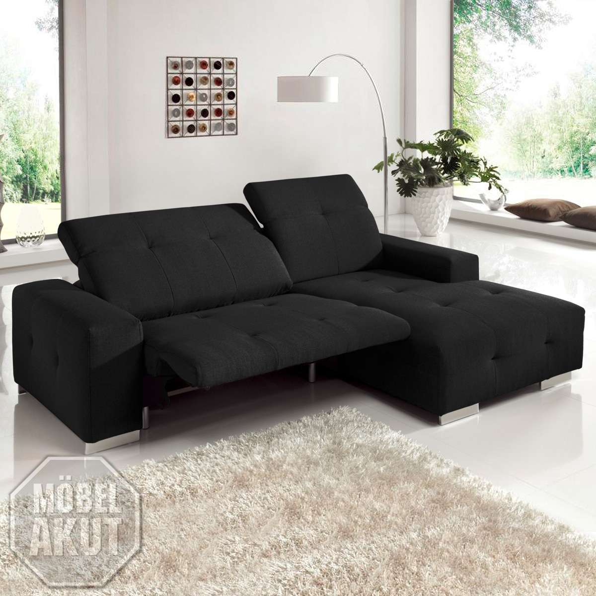 Ecksofa francisco sofa lila mit elektrischer relaxfunktion for Sofa elektrisch