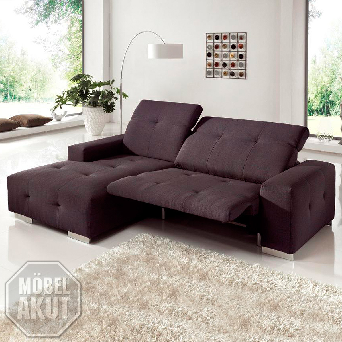 ecksofa francisco sofa lila mit elektrischer relaxfunktion 257 cm ebay. Black Bedroom Furniture Sets. Home Design Ideas