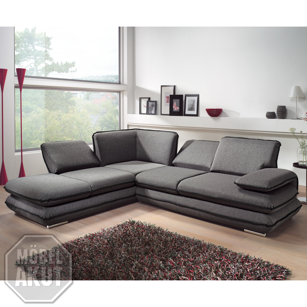 ecksofa turner sofa wohnlandschaft grau schwarz relaxfunktion 284 cm ebay. Black Bedroom Furniture Sets. Home Design Ideas