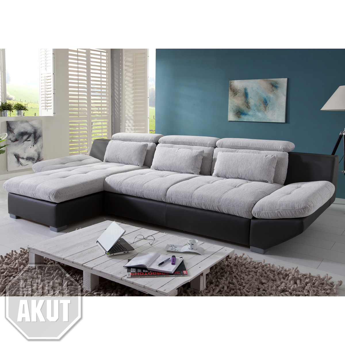 wohnlandschaft eternity sofa wei hell grau schwarz rechts links bettfunktion ebay. Black Bedroom Furniture Sets. Home Design Ideas