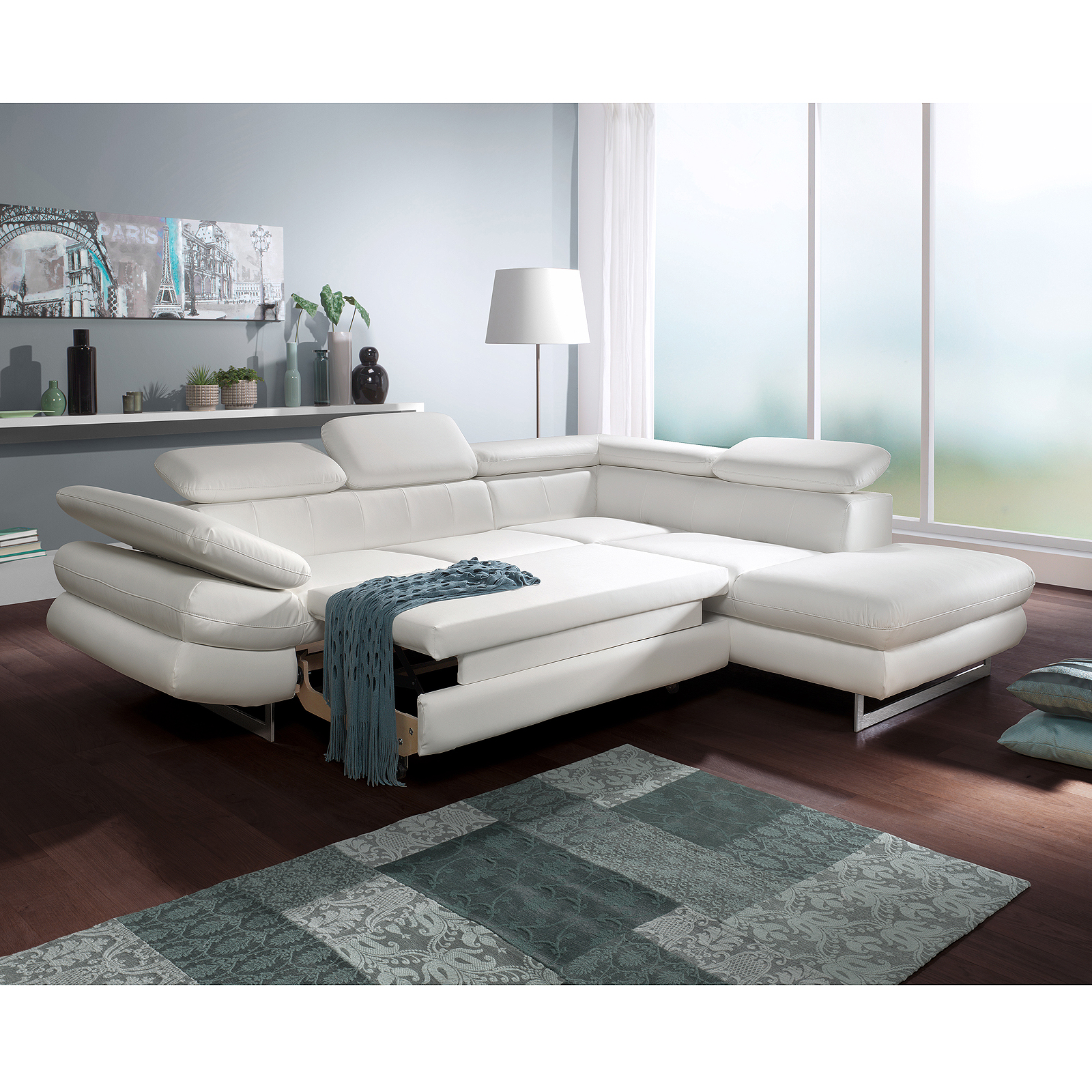 Ecksofa solution sofa wohnlandschaft in wei mit funktions for Funktions ecksofa