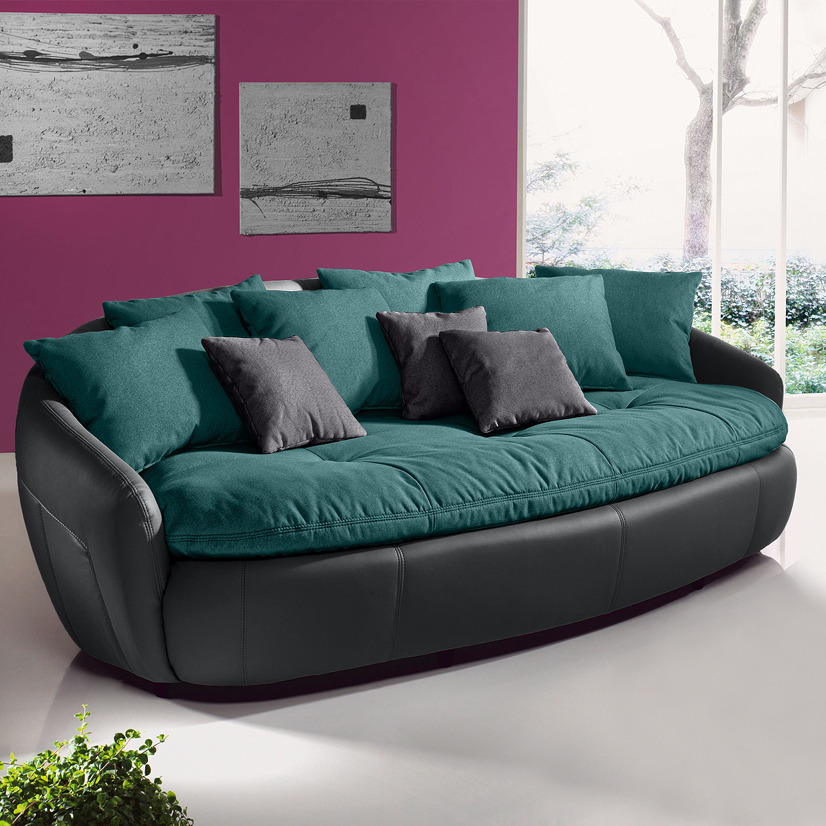 megasofa aruba 2 sofa bigsofa einzelsofa grau petrol. Black Bedroom Furniture Sets. Home Design Ideas