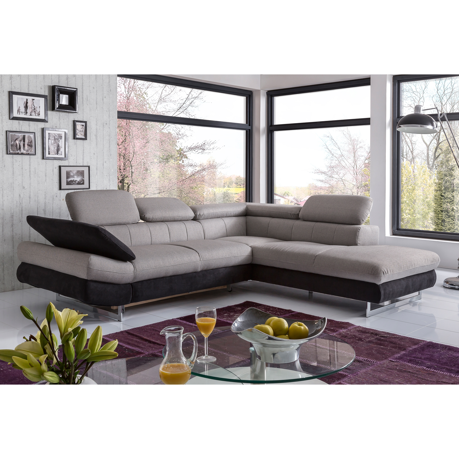 ecksofa solution sofa wohnlandschaft mit farb und funktions auswahl ebay. Black Bedroom Furniture Sets. Home Design Ideas
