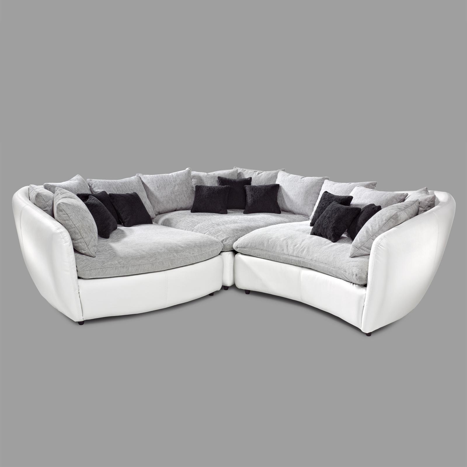 ecksofa tunis eckkombi bigsofa sofa polsterecke wei grau und schwarz ebay. Black Bedroom Furniture Sets. Home Design Ideas