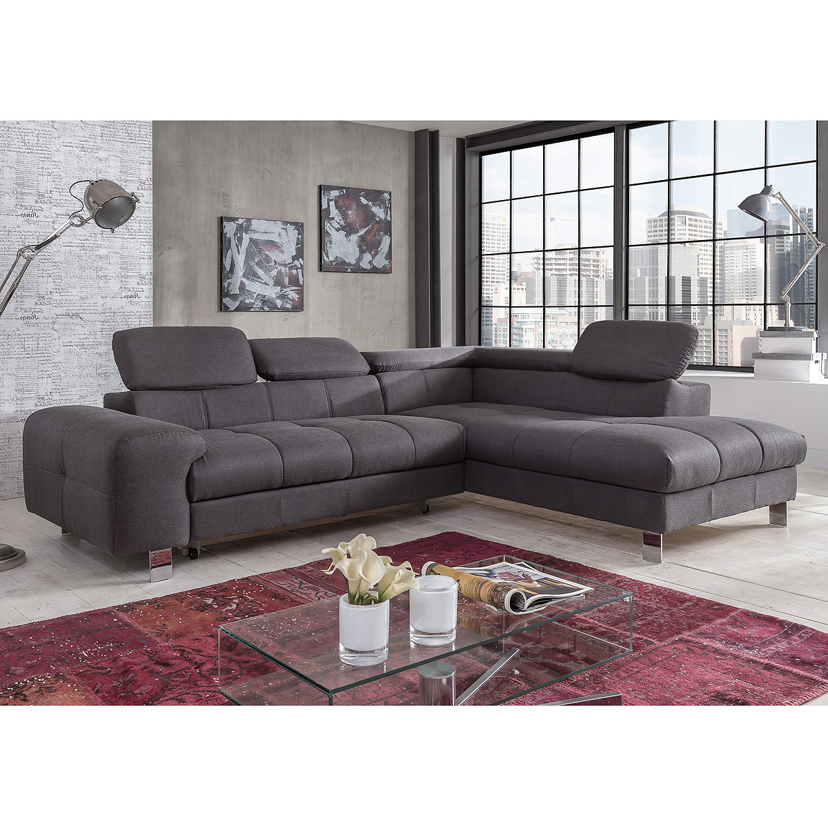 ecksofa presidente sofa wohnlandschaft polsterecke anthrazit funktionsauswahl ebay. Black Bedroom Furniture Sets. Home Design Ideas
