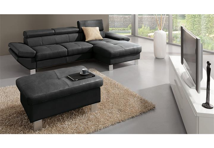 ecksofa carrier sofa wohnlandschaft polsterecke in schwarz mit bettfunktion ebay. Black Bedroom Furniture Sets. Home Design Ideas