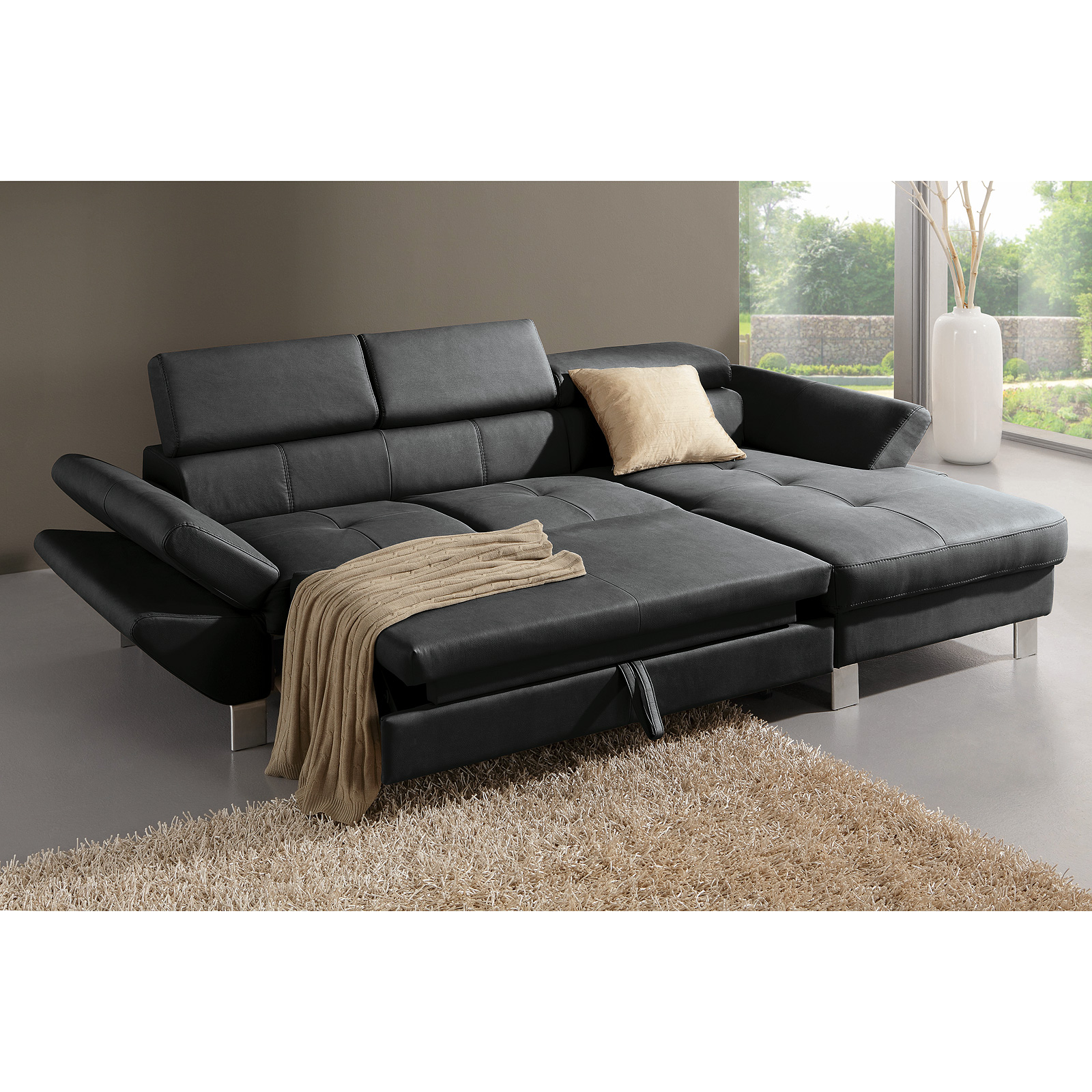 Ecksofa carrier sofa wohnlandschaft polsterecke in schwarz for Sofa mit bettfunktion