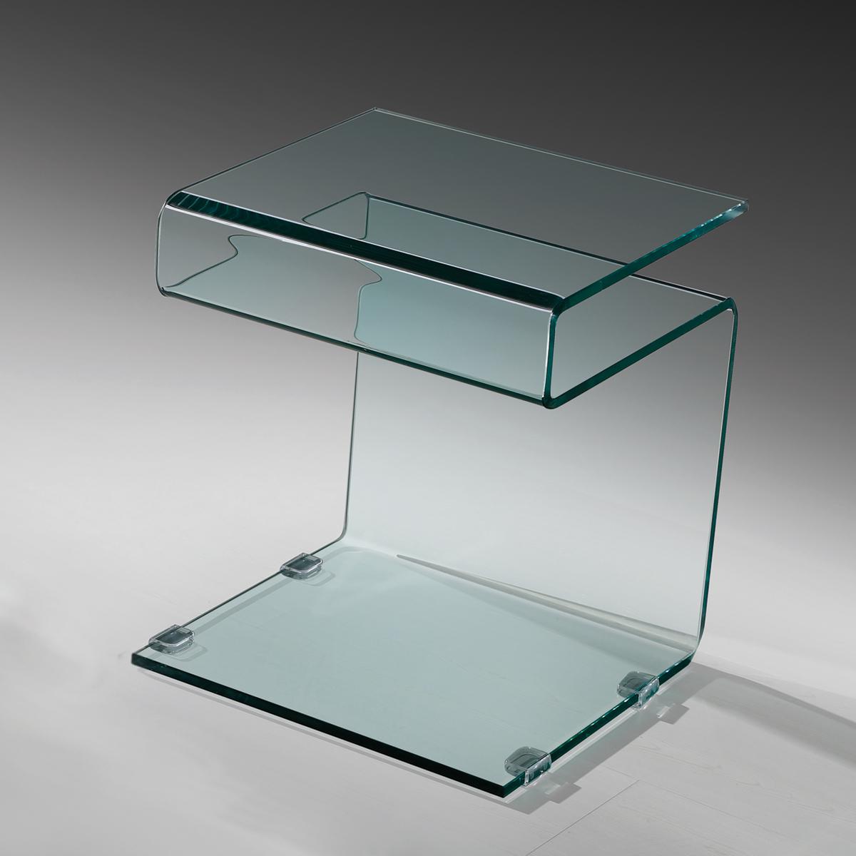 beistelltisch susy mit ablage klarglas glastisch couchtisch nachttisch tisch ebay. Black Bedroom Furniture Sets. Home Design Ideas