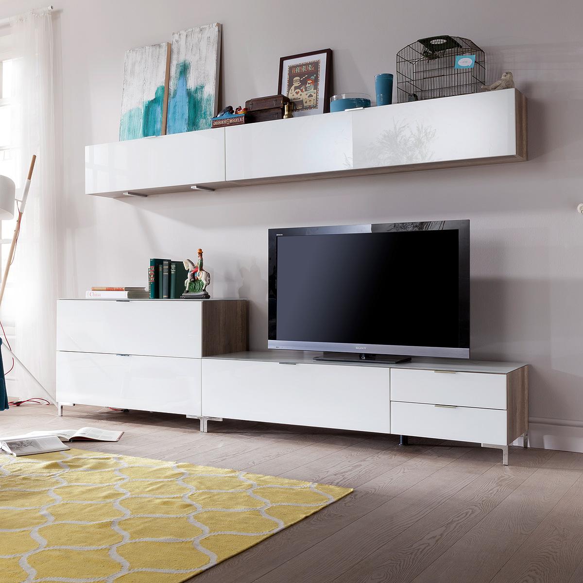 wohnwand cleo anbauwand wohnzimmer wohnkombi set wildeiche wei glas cs schmal ebay. Black Bedroom Furniture Sets. Home Design Ideas