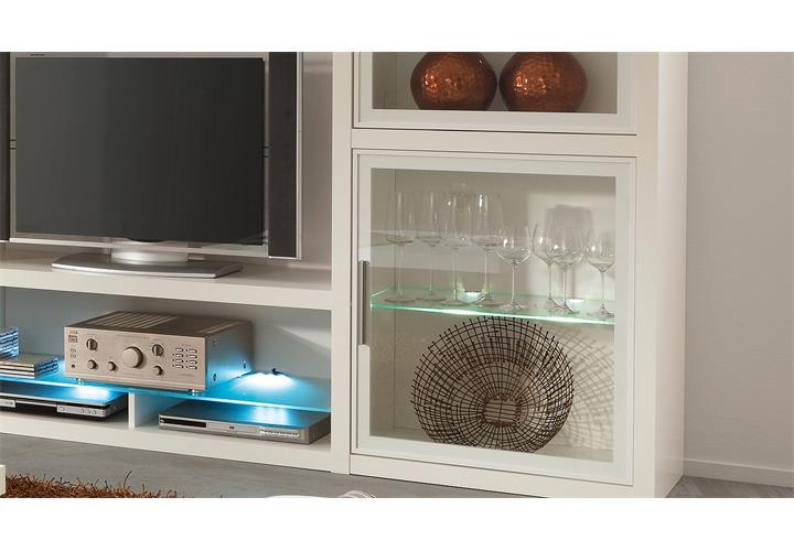 wohnwand comos anbauwand wohnzimmer wohnkombination set in wei von cs schmal ebay. Black Bedroom Furniture Sets. Home Design Ideas