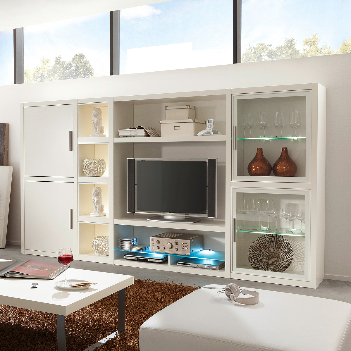 wohnwand comos anbauwand wohnzimmer wohnkombination set in. Black Bedroom Furniture Sets. Home Design Ideas