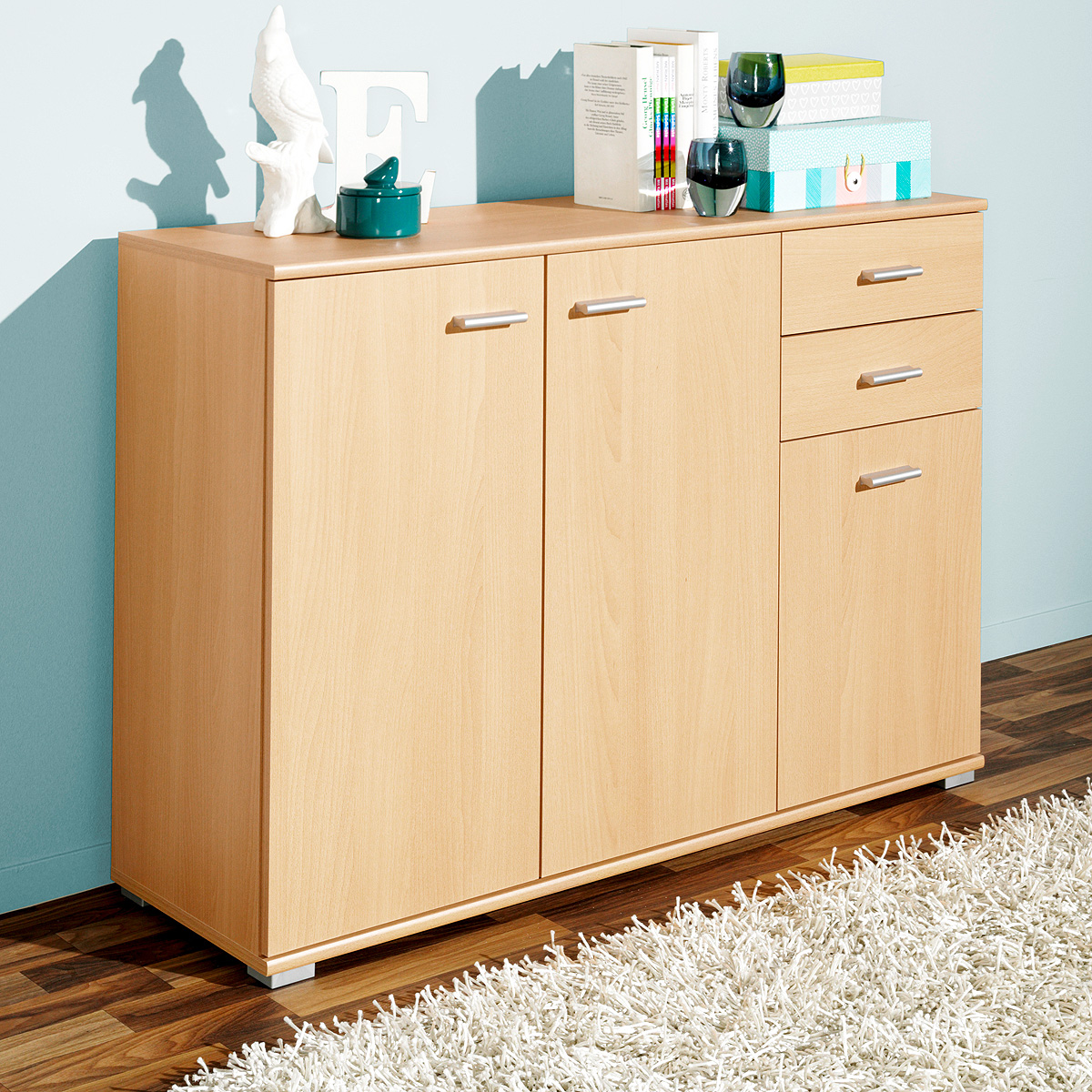 kommode p92 sideboard anrichte schrank wei eiche buche. Black Bedroom Furniture Sets. Home Design Ideas