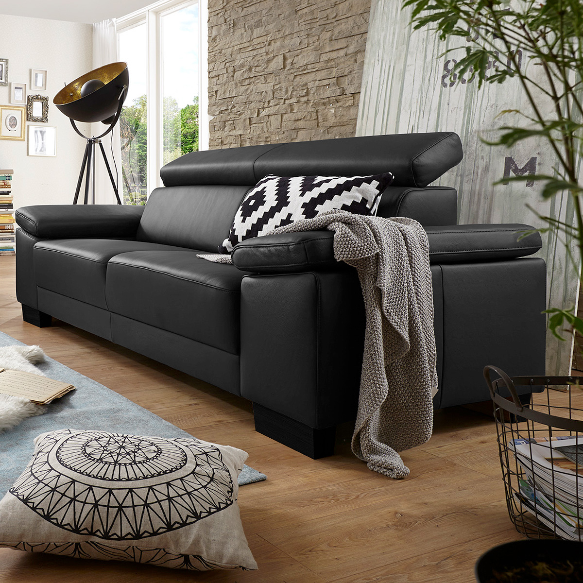 sofa santiago 3er sofa dreisitzer in leder schwarz mit funktion 226 cm. Black Bedroom Furniture Sets. Home Design Ideas