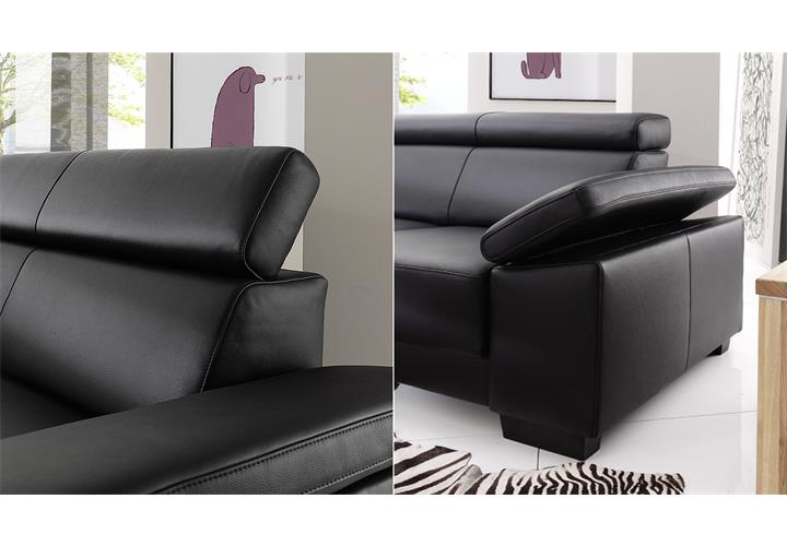 ecksofa santiago sofa wohnlandschaft leder schwarz mit funktion ebay. Black Bedroom Furniture Sets. Home Design Ideas