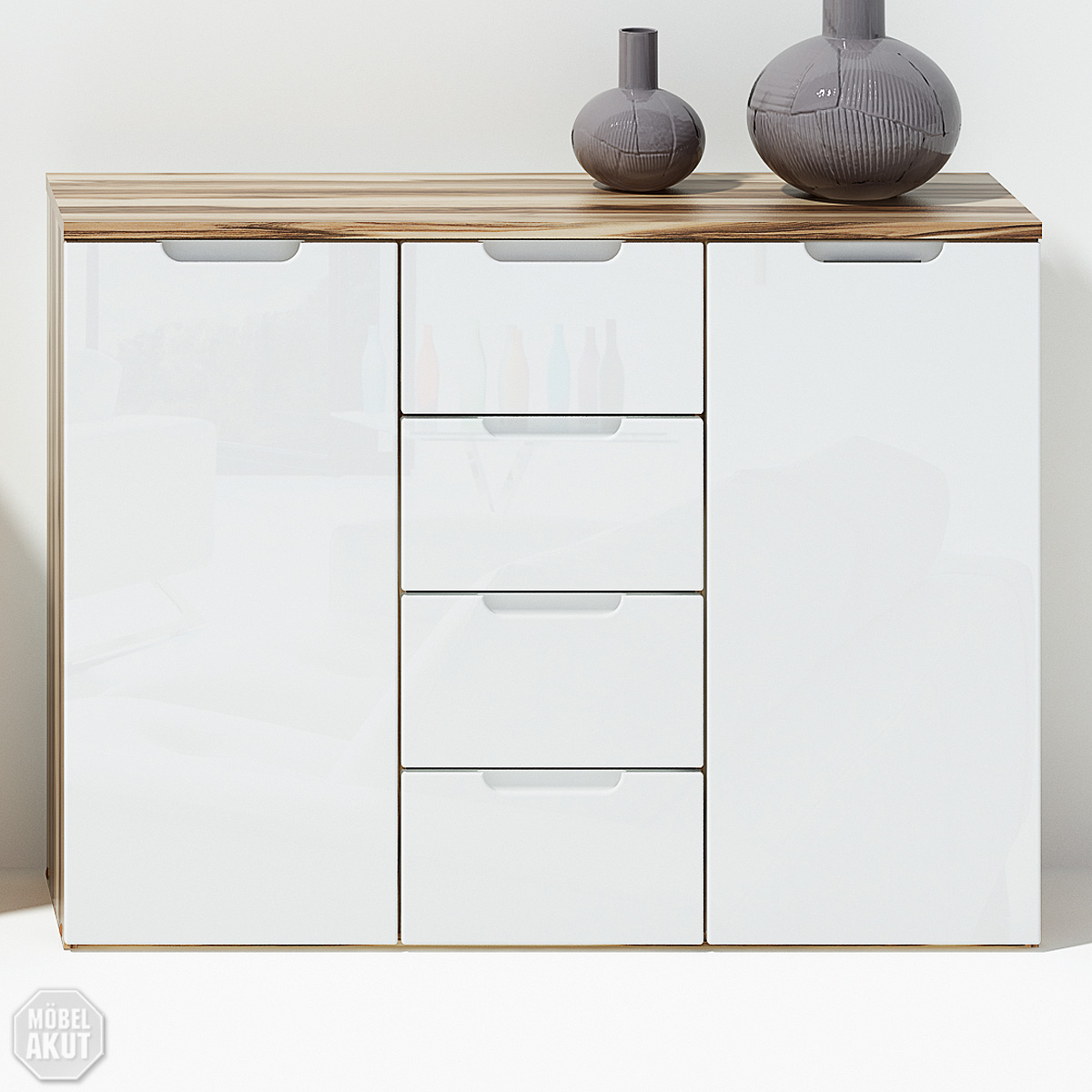 kommode liso sideboard in wei hochglanz baltimore walnuss neu ebay. Black Bedroom Furniture Sets. Home Design Ideas