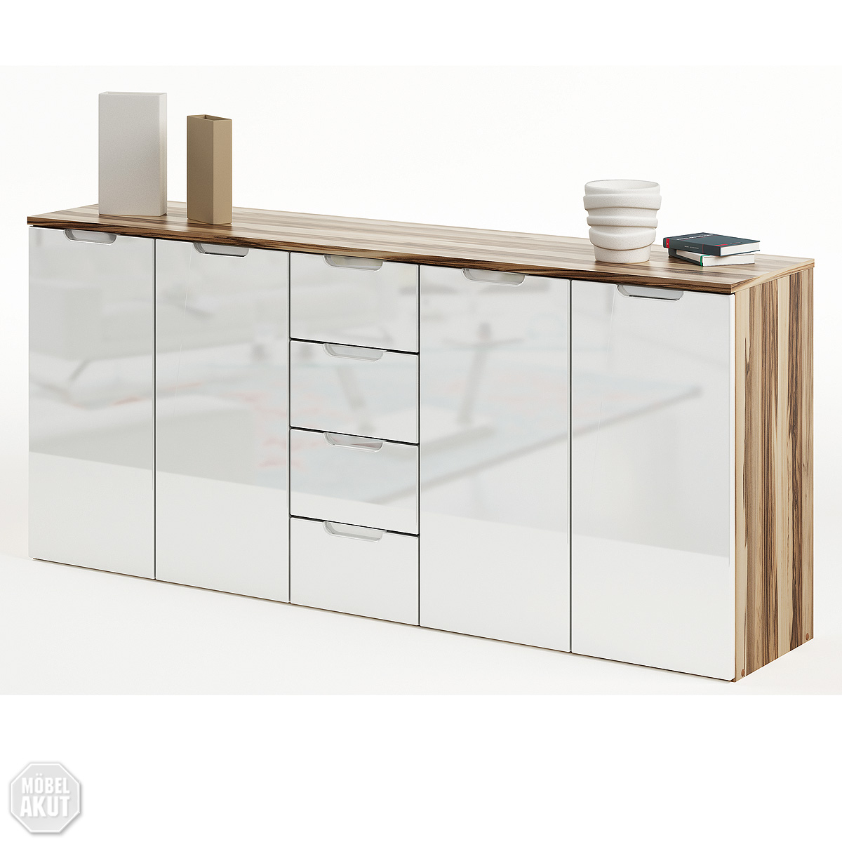 sideboard liso kommode in wei hochglanz baltimore walnuss neu ebay. Black Bedroom Furniture Sets. Home Design Ideas