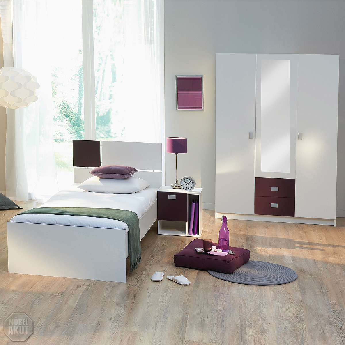 3 tlg jugendzimmer riba kinderzimmer in wei lila ebay. Black Bedroom Furniture Sets. Home Design Ideas