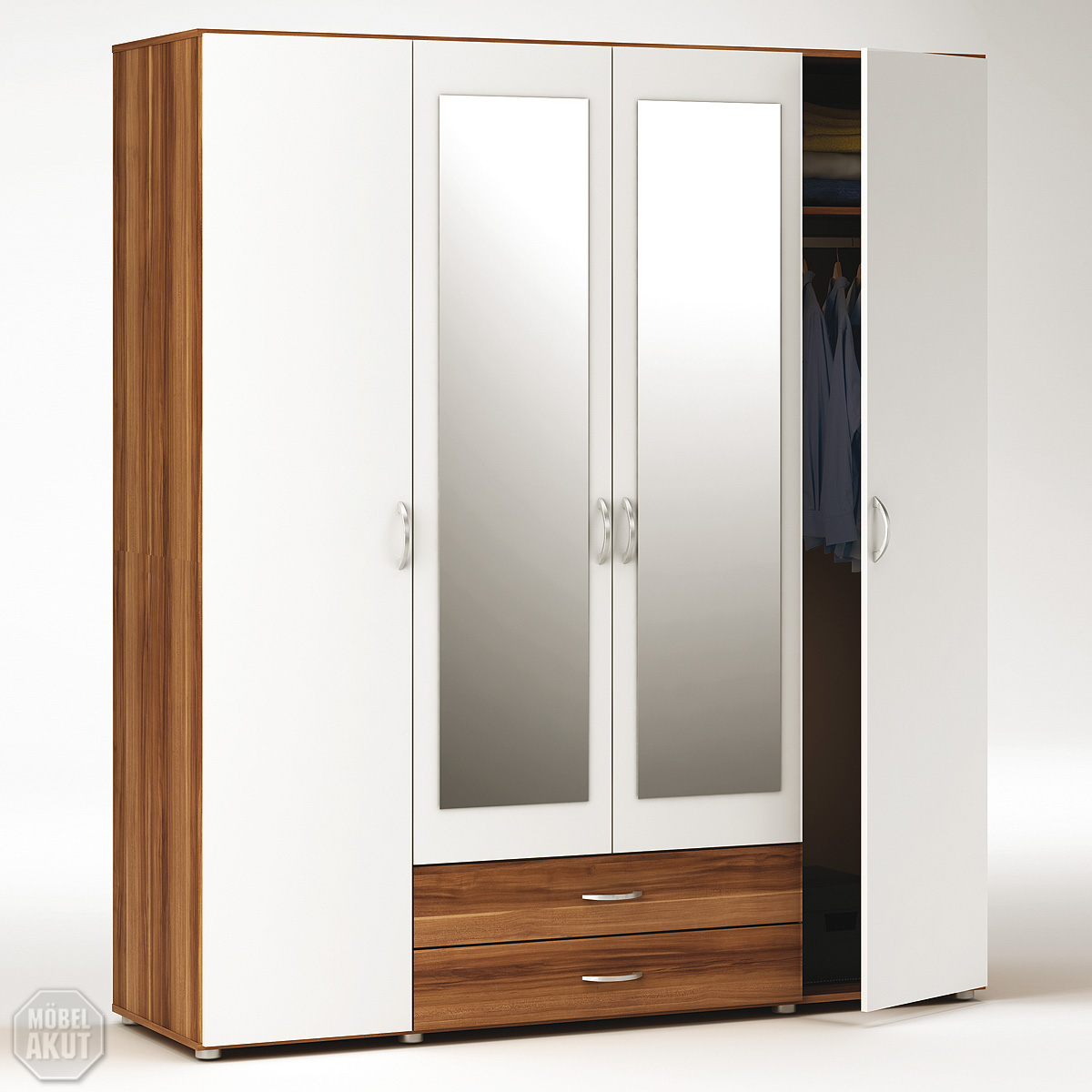 kleiderschrank zapo schrank in nussbaum weiss mit spiegel neu b 172. Black Bedroom Furniture Sets. Home Design Ideas