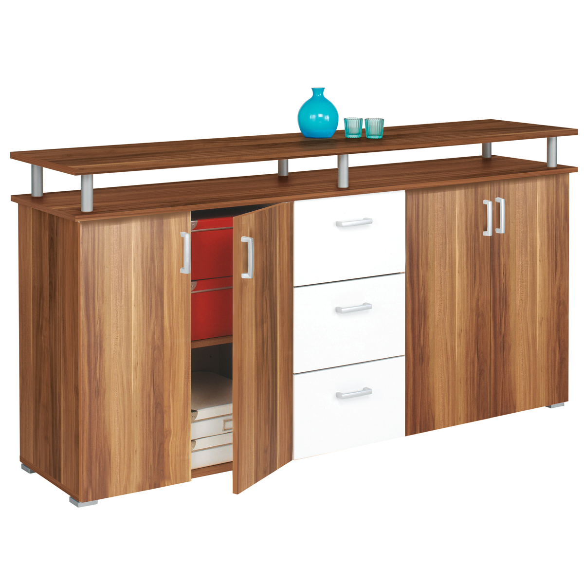kommode sideboard swift anrichte schrank mit t ren schubk sten ebay. Black Bedroom Furniture Sets. Home Design Ideas