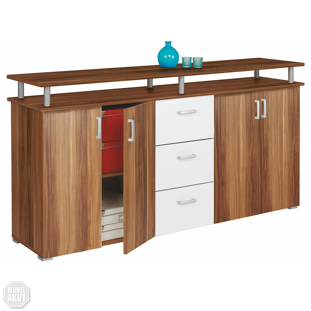 sideboard lios kommode anrichte in nussbaum wei neu ebay. Black Bedroom Furniture Sets. Home Design Ideas