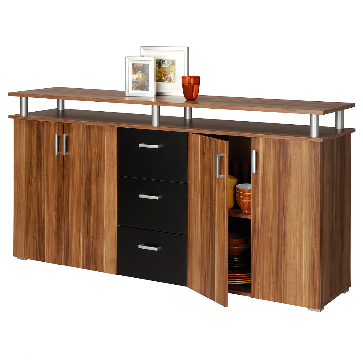 sideboard lios kommode anrichte in nussbaum schwarz neu ebay. Black Bedroom Furniture Sets. Home Design Ideas