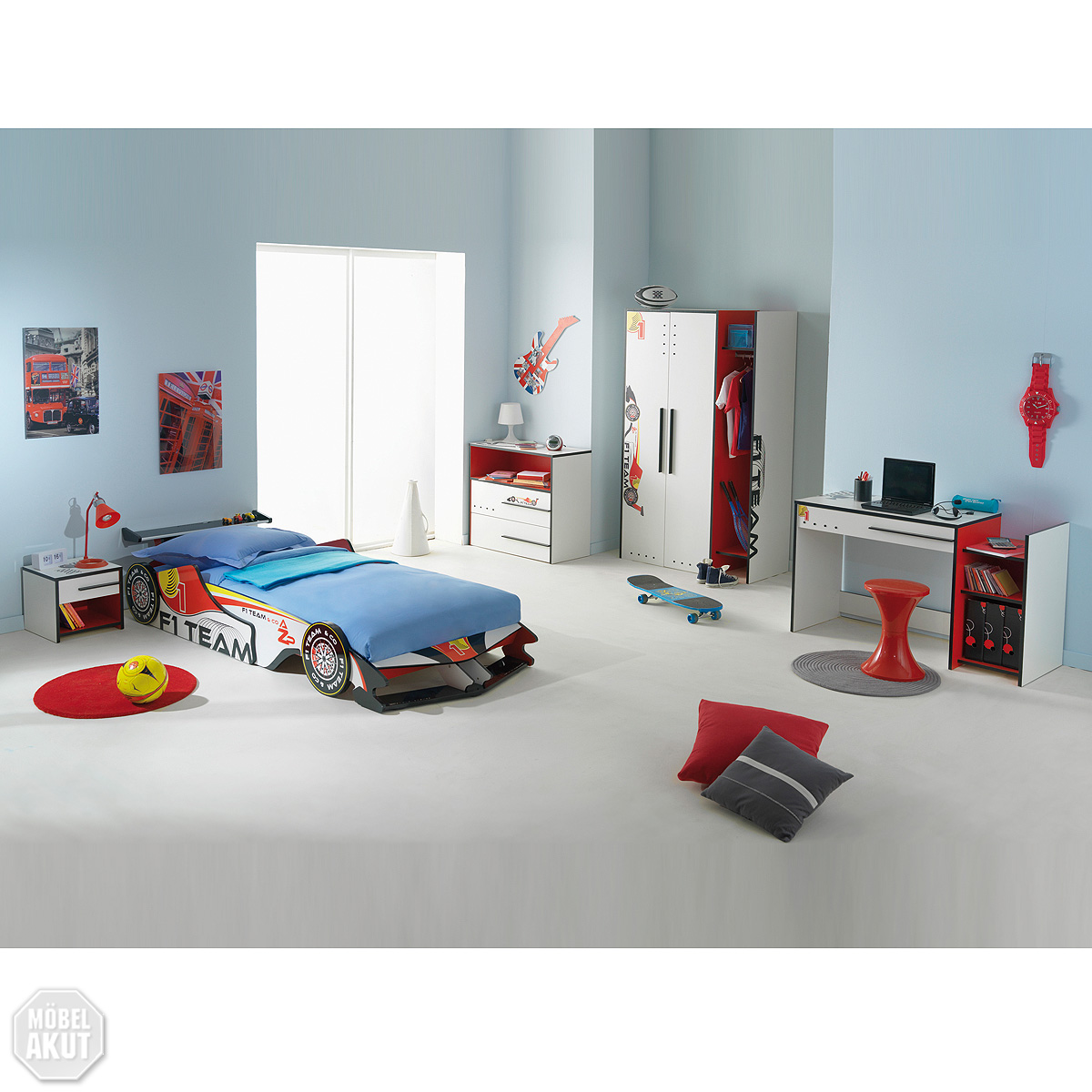 kinderzimmer fast komplett set led lattenrost f1 team jugendzimmer neu ebay. Black Bedroom Furniture Sets. Home Design Ideas