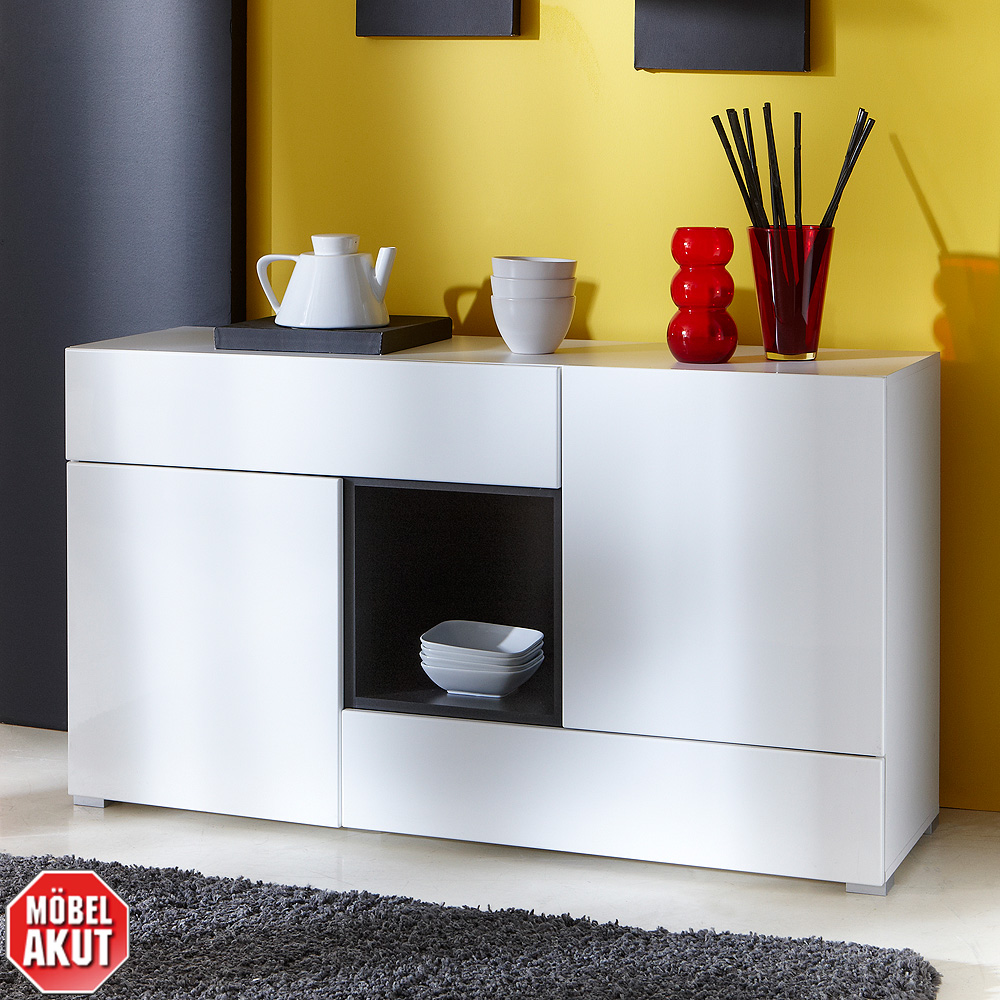 sideboard pablo kommode schrank in hochglanz wei graphit ebay. Black Bedroom Furniture Sets. Home Design Ideas