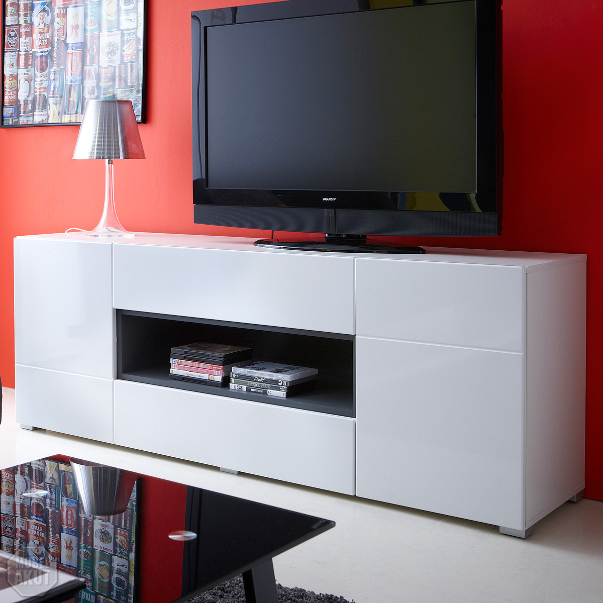 lowboard pablo sideboard tv media m bel in hochglanz wei graphit ebay. Black Bedroom Furniture Sets. Home Design Ideas