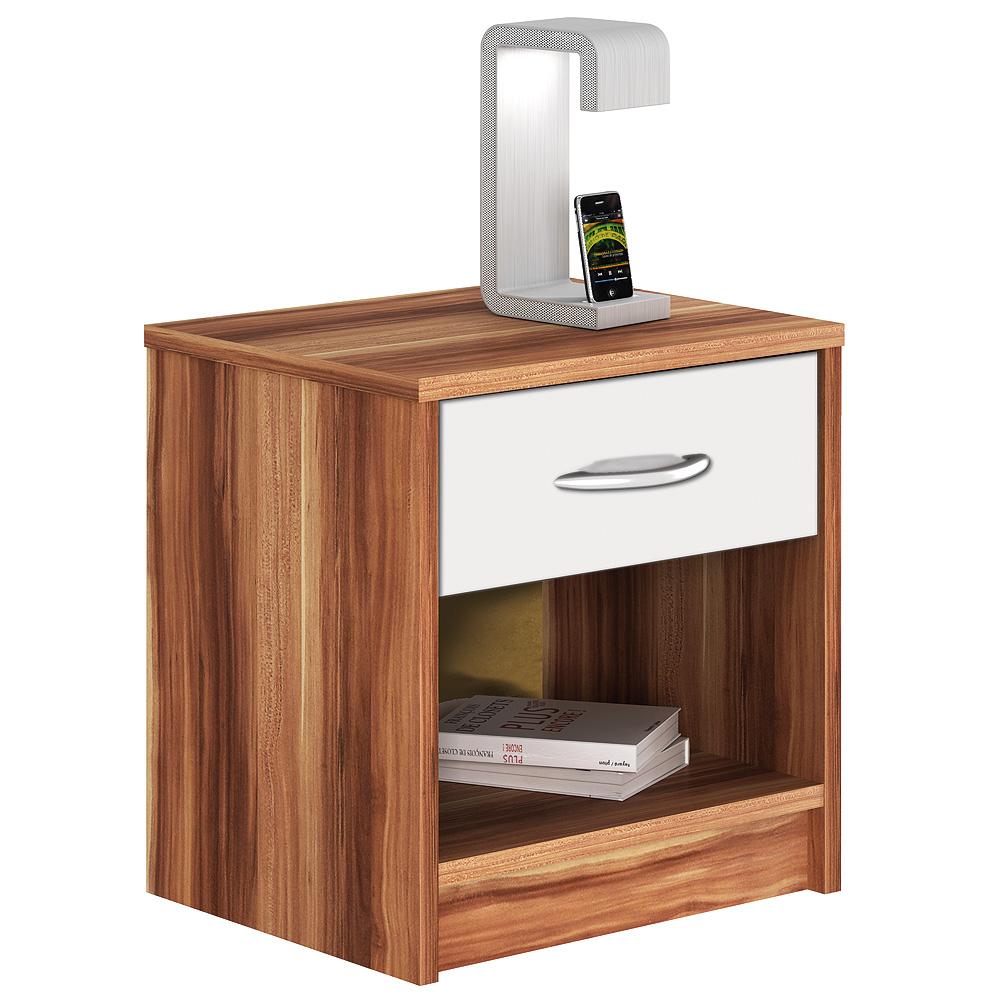 nachtkommode isis nachttisch nachtkonsole nussbaum wei neu ebay. Black Bedroom Furniture Sets. Home Design Ideas