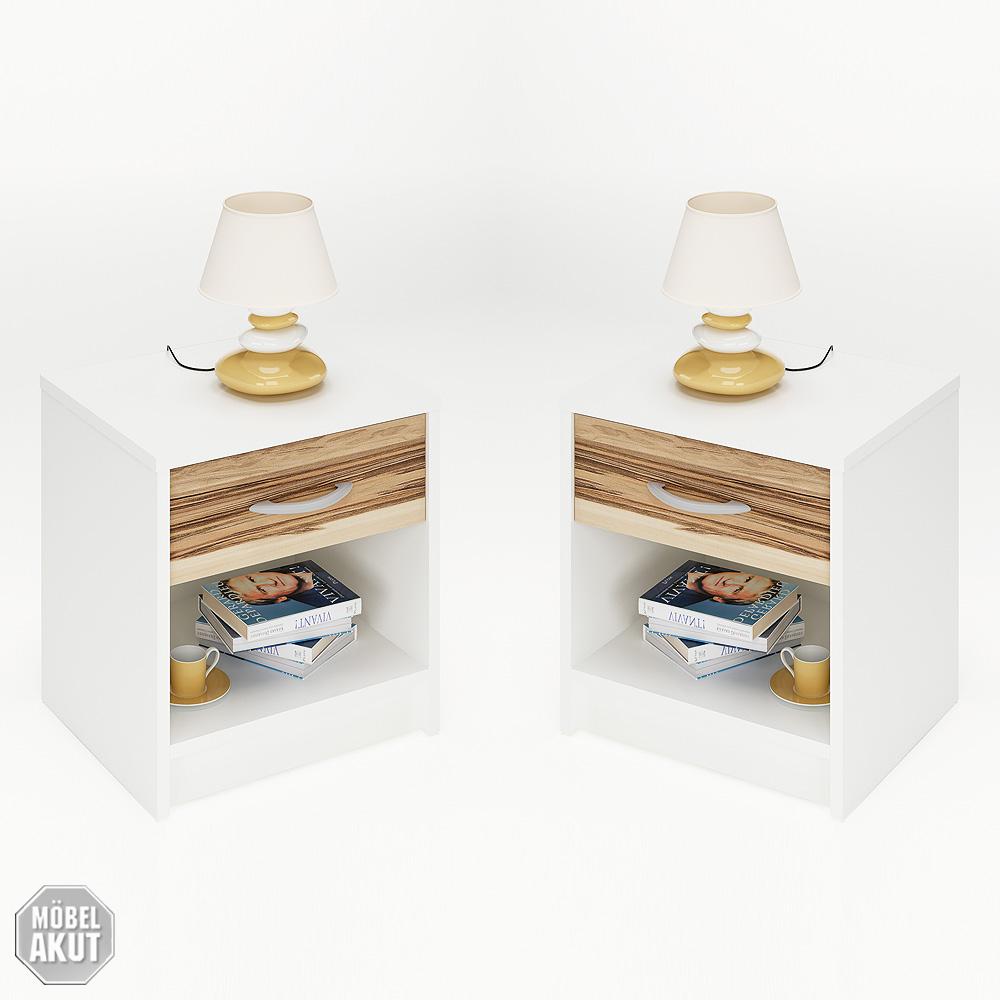 2er set nachtkommode isis nachttisch konsole wei baltimore walnuss ebay. Black Bedroom Furniture Sets. Home Design Ideas