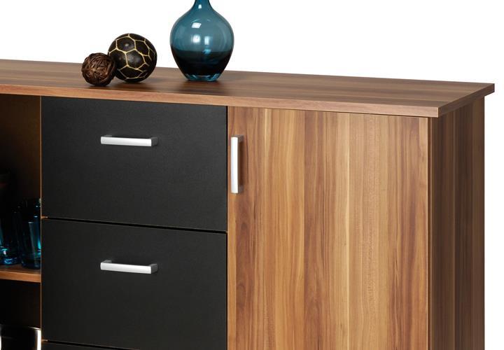 Kommode nussbaum schwarz  Kommode Sideboard Swift Anrichte Schrank mit Türen Schubkästen | eBay