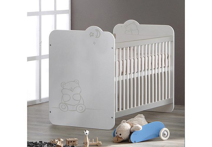 babybett teddy kinderbett sprossenbett bett in wei mit teddymotiv. Black Bedroom Furniture Sets. Home Design Ideas