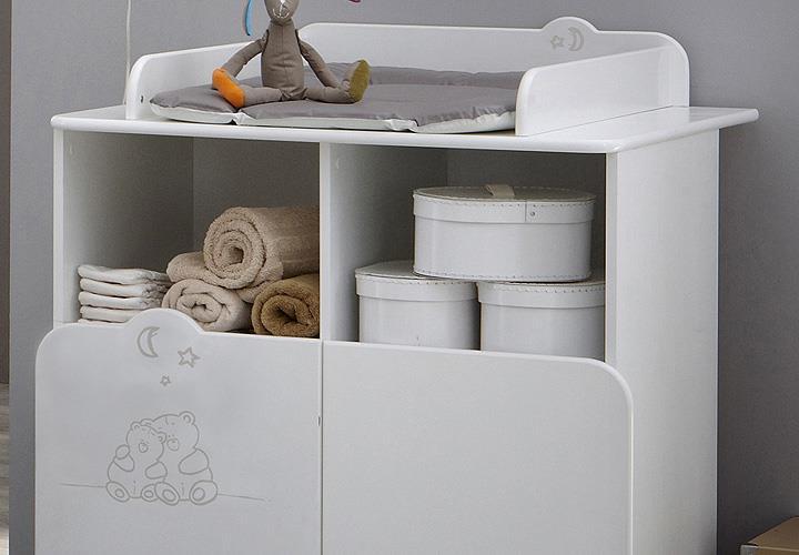 wickeltisch teddy wickelkommode kommode in wei mit teddymotiv ebay. Black Bedroom Furniture Sets. Home Design Ideas
