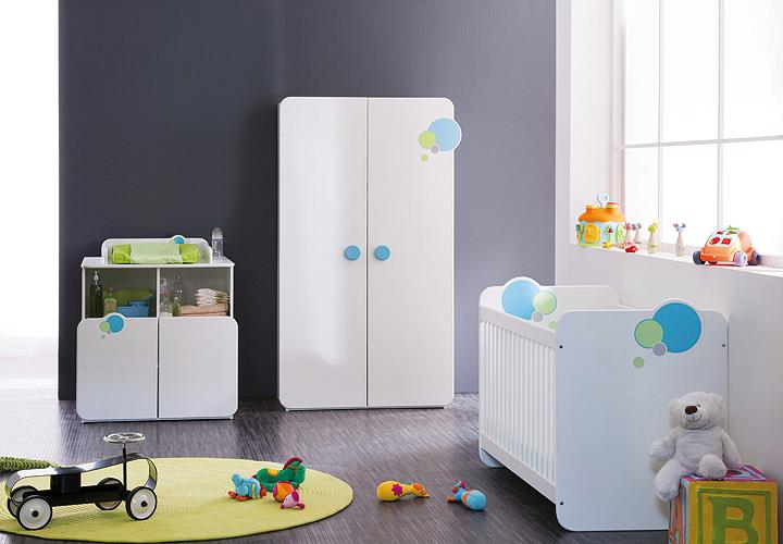 babyzimmer bulles kinderzimmer schrank bett weiß blau grün mit ... - Kinderzimmer Weis Grun