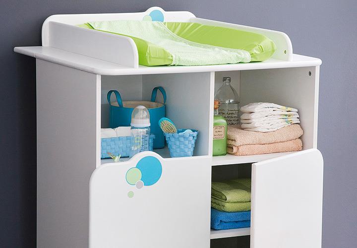 Babyzimmer Bulles Kinderzimmer Schrank Bett weiß blau grün mit ...