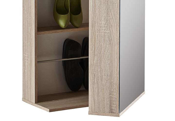 schuhschrank ballerina garderobenschrank schrank in sonoma eiche mit spiegel ebay. Black Bedroom Furniture Sets. Home Design Ideas