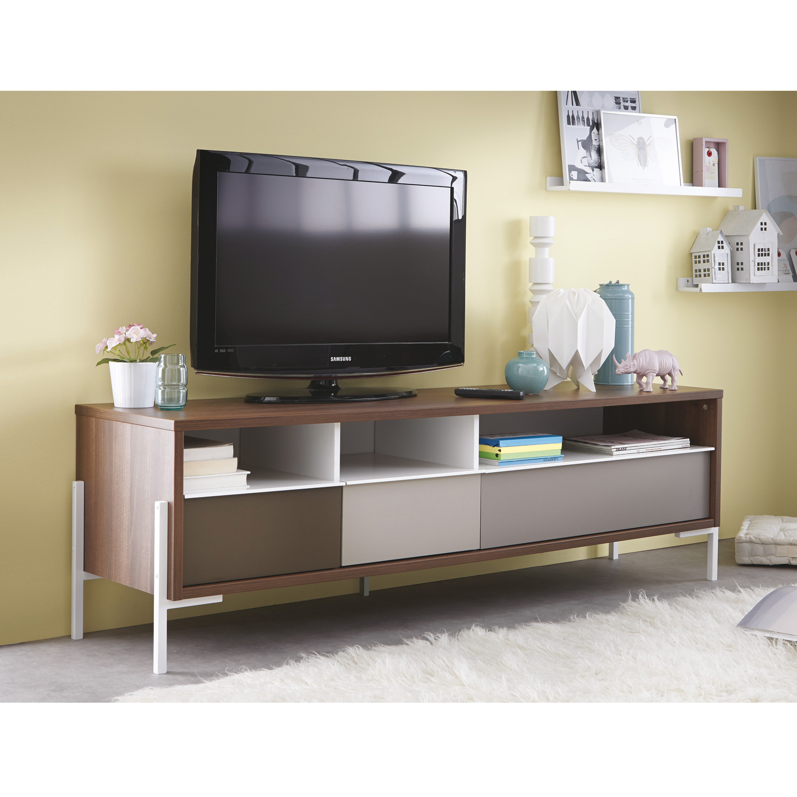 tv tisch vogue tv board lowboard tv unterschrank in nussbaum braun grau und wei ebay. Black Bedroom Furniture Sets. Home Design Ideas