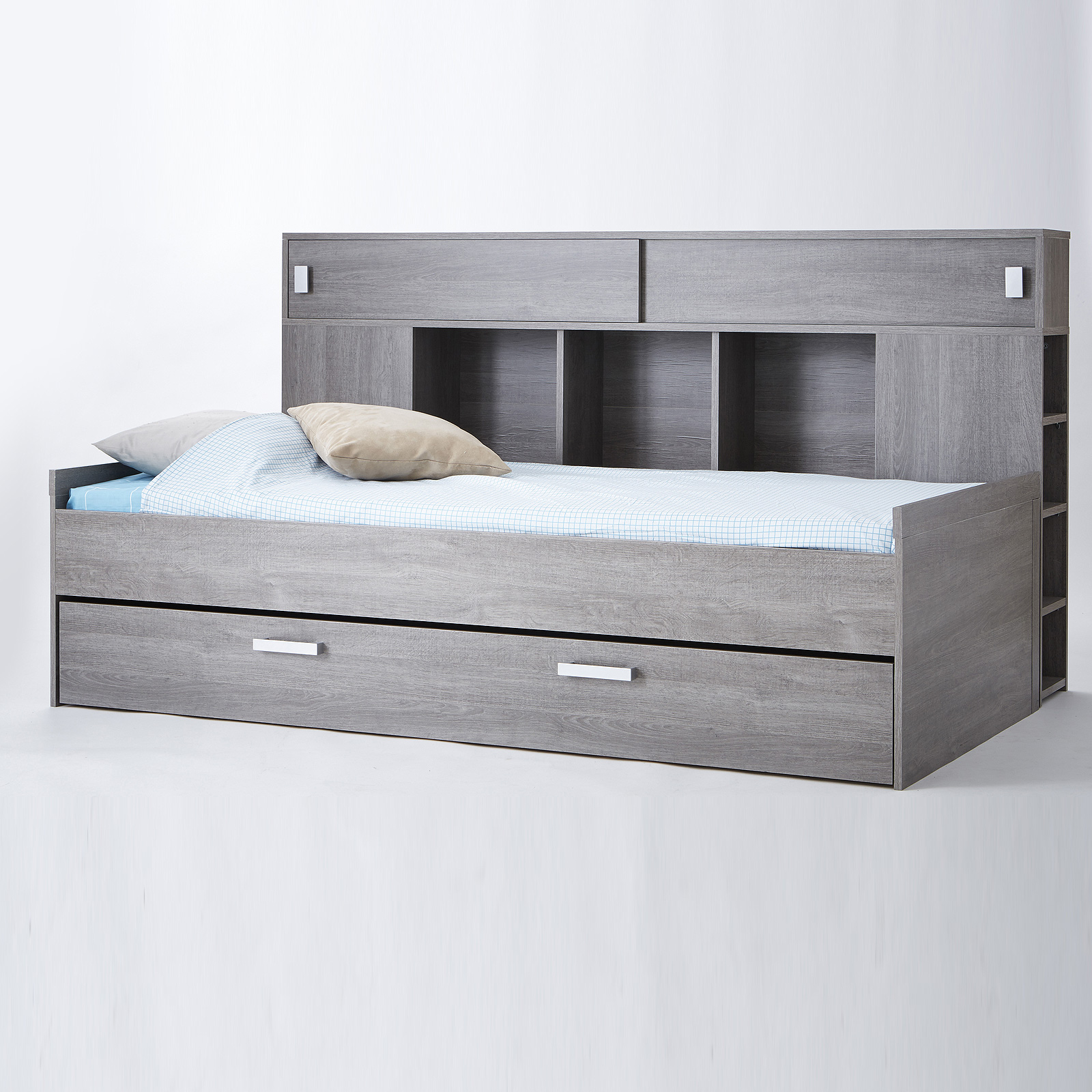 bett sherwood kinderbett jugendzimmerbett prata eiche mit bettkasten und regal ebay. Black Bedroom Furniture Sets. Home Design Ideas