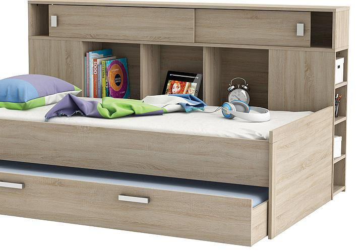 bett sherwood kinderbett jugendzimmerbett sonoma eiche mit bettkasten und regal ebay. Black Bedroom Furniture Sets. Home Design Ideas
