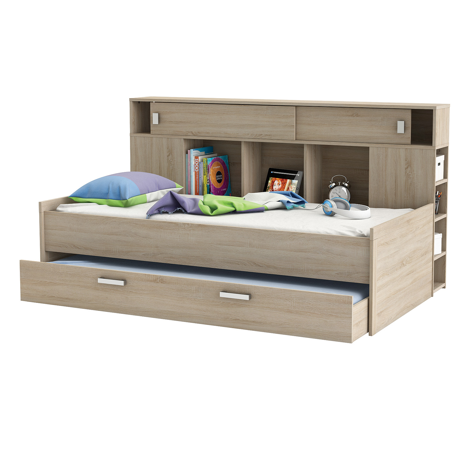 bett sherwood kinderbett jugendzimmerbett sonoma eiche mit bettkasten und regal. Black Bedroom Furniture Sets. Home Design Ideas