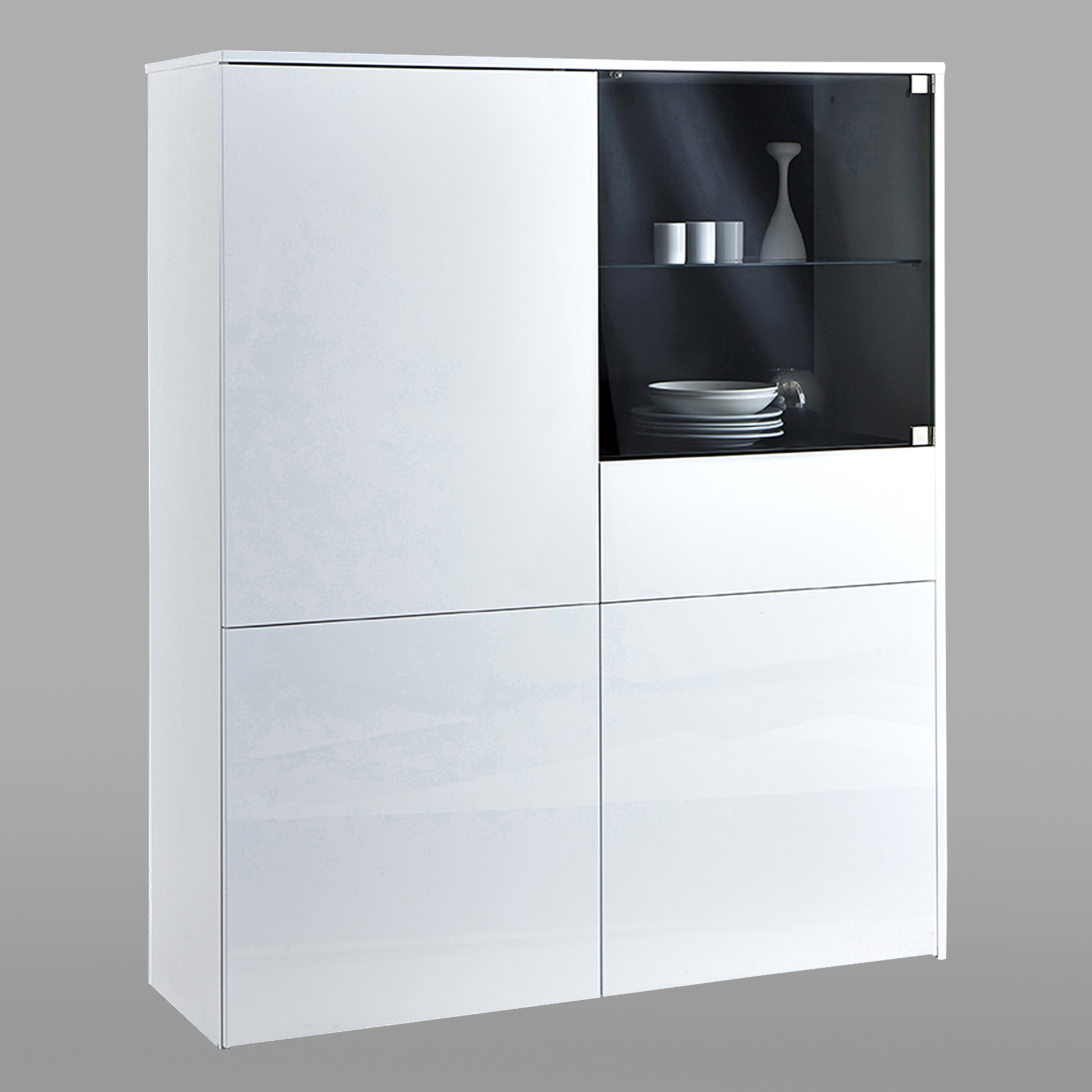 highboard malia vitrine schrank sideboard anrichte in gl nzend wei ebay. Black Bedroom Furniture Sets. Home Design Ideas