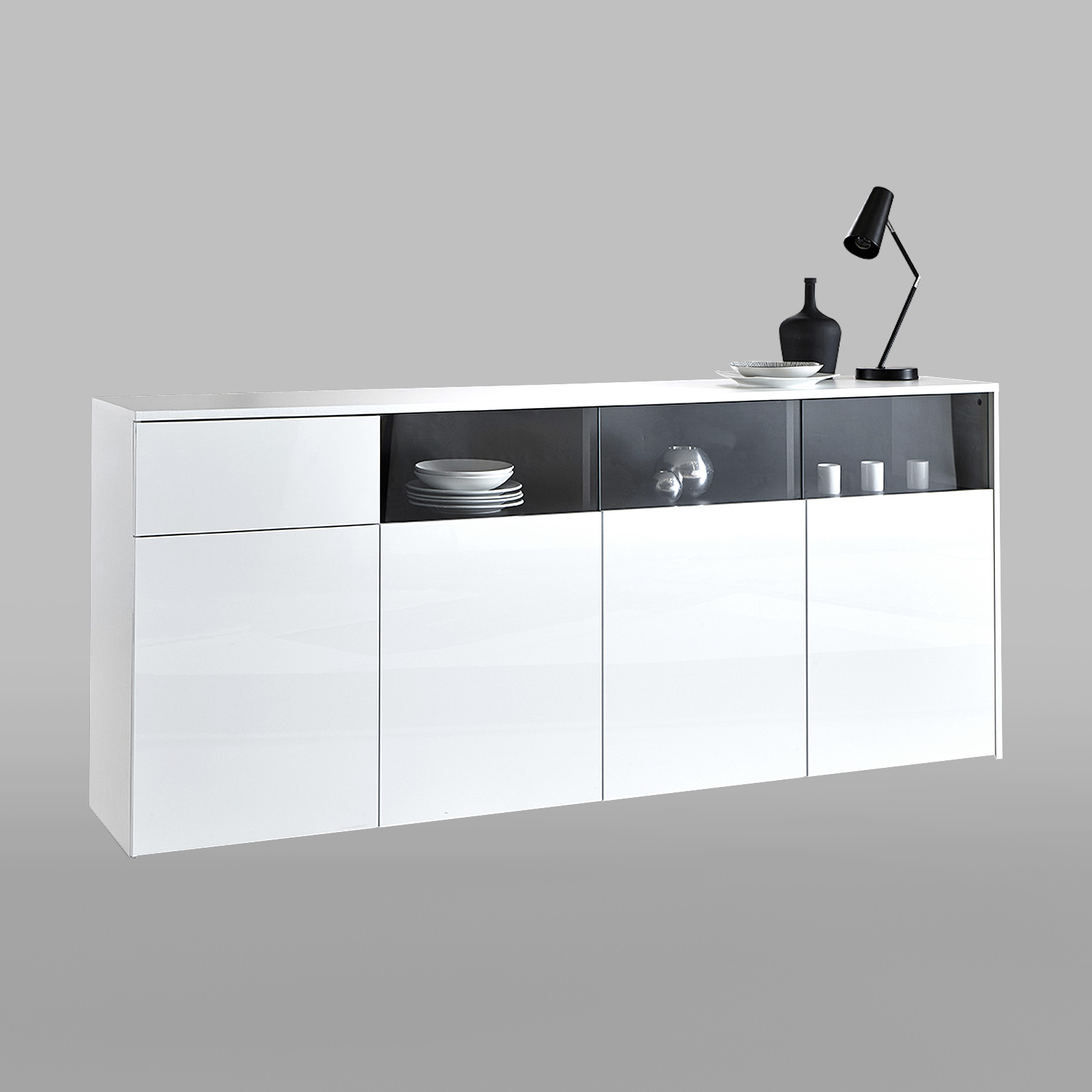 sideboard malia kommode anrichte schrank f r wohnzimmer esszimmer gl nzend wei. Black Bedroom Furniture Sets. Home Design Ideas