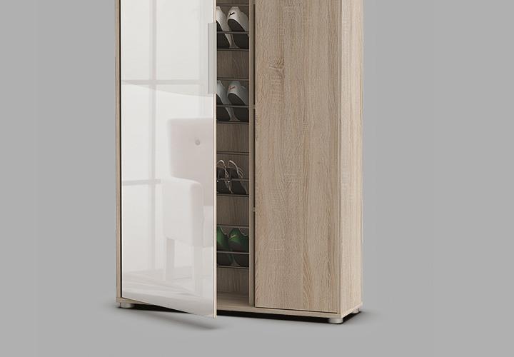 schuhschrank ebony garderobenschrank garderobe flurschrank sonoma eiche spiegel ebay. Black Bedroom Furniture Sets. Home Design Ideas