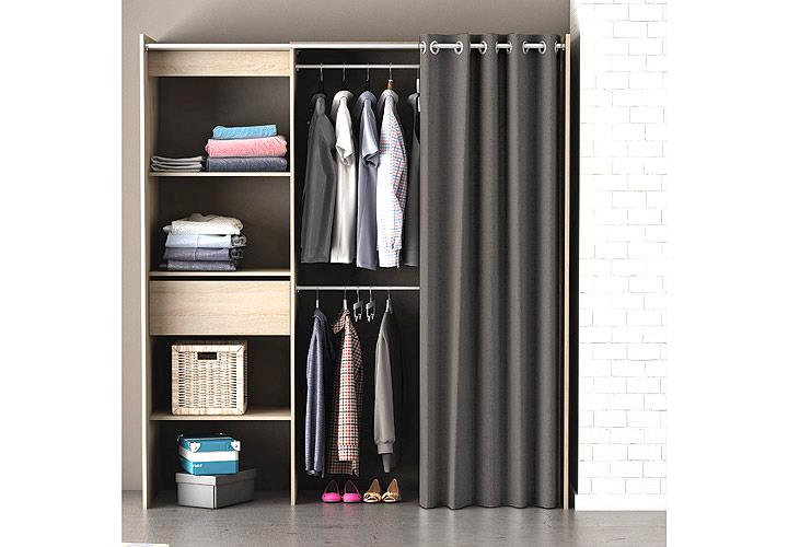 kleiderschrank chicago garderobe regal schrank sonoma eiche mit vorhang ebay. Black Bedroom Furniture Sets. Home Design Ideas