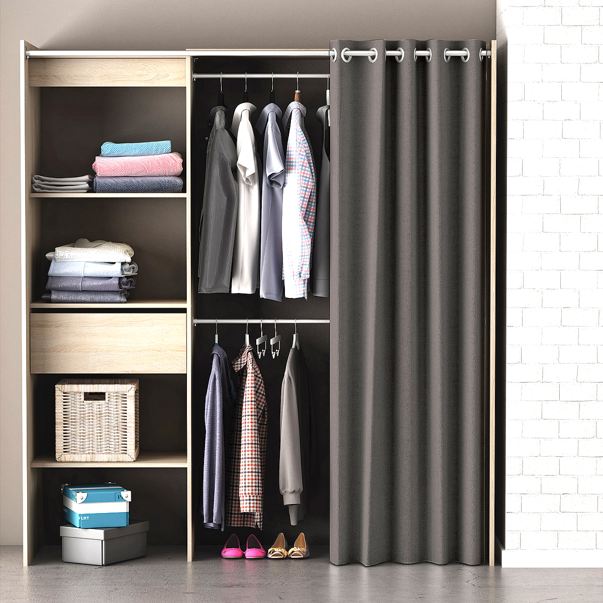 kleiderschrank chicago garderobe regal schrank sonoma eiche mit vorhang. Black Bedroom Furniture Sets. Home Design Ideas