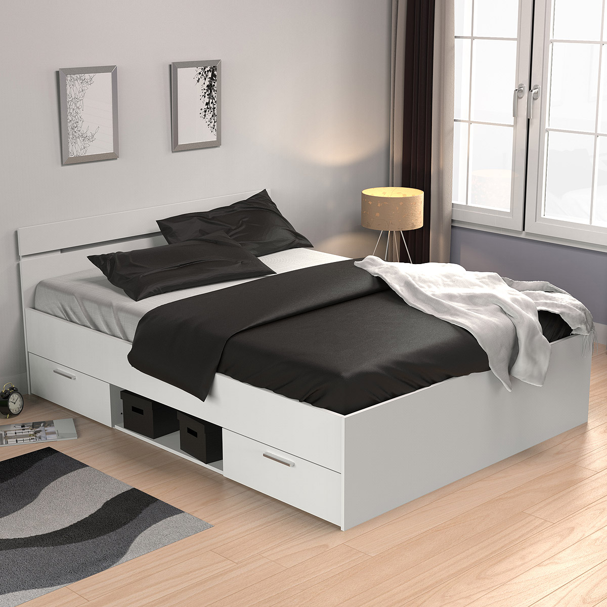 bett michigan jugendzimmerbett g stebett perle wei 140x200 cm ebay. Black Bedroom Furniture Sets. Home Design Ideas