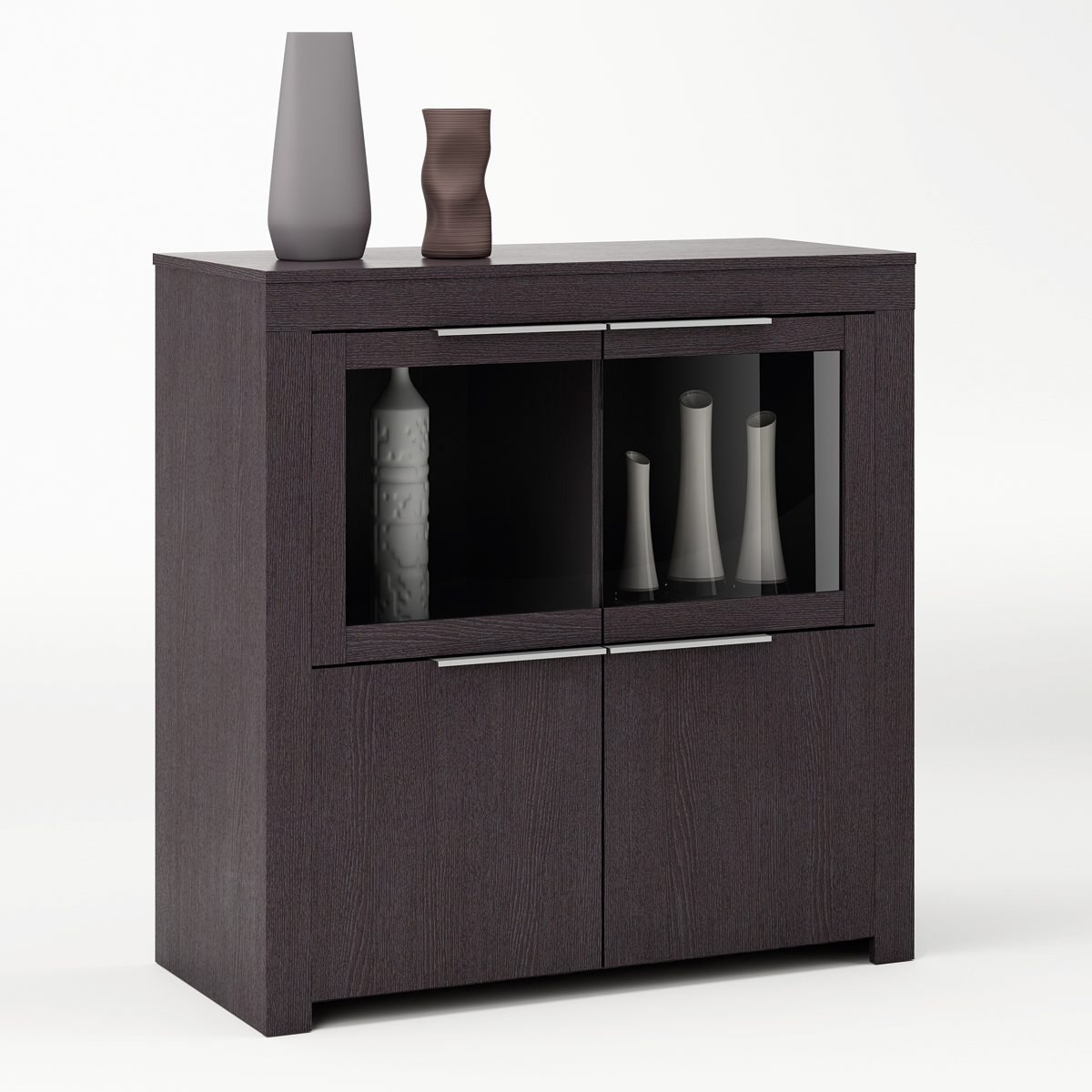 schrank rubis vitrine highboard sideboard stauraumelement in ebenholz braun ebay. Black Bedroom Furniture Sets. Home Design Ideas