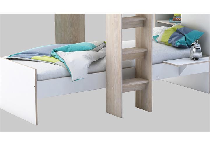 etagenbett treno bett hochbett mit kleiderschrank in wei und akazie 90x200 cm ebay. Black Bedroom Furniture Sets. Home Design Ideas