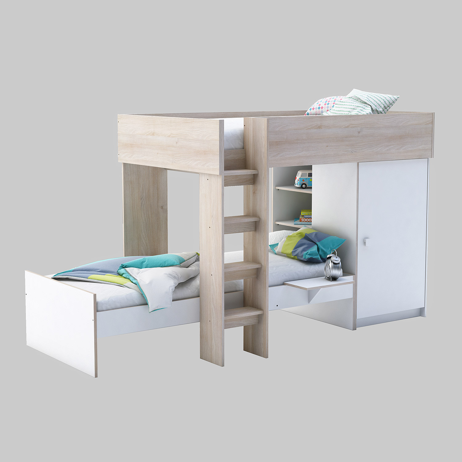etagenbett treno bett hochbett mit kleiderschrank in wei und akazie 90x200 cm ebay. Black Bedroom Furniture Sets. Home Design Ideas