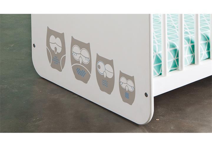 babybett hiboux kinderbett gitterbett mit eulenmotiv mdf wei 60x120 cm ebay. Black Bedroom Furniture Sets. Home Design Ideas